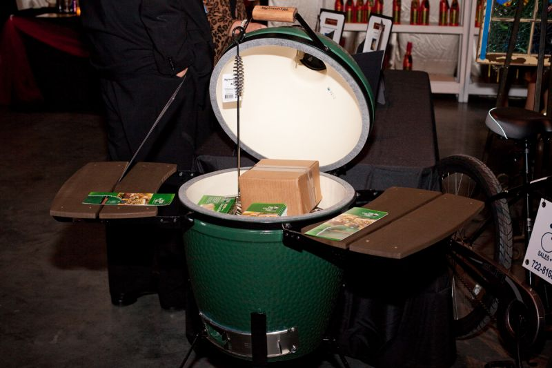 A Big Green Egg grill was on the auction block.