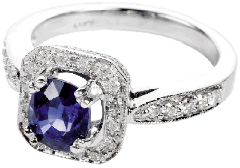Center Stage: 14K white gold ring with 1.67 ct. sapphire and accent diamonds. (.66 total ct.) Kiawah Fine Jewelry, $3,850