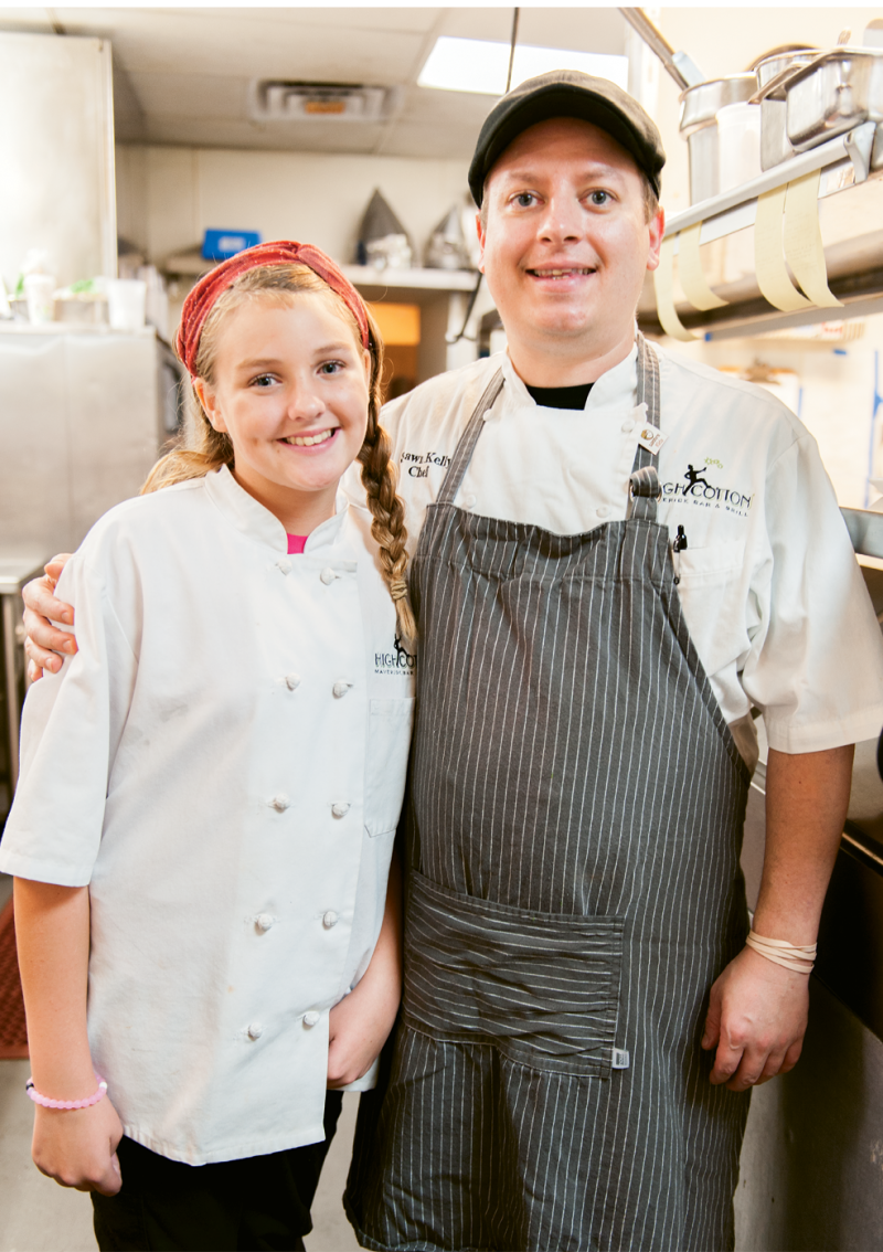 Little Chef Lillie Peterson with Big Chef Shawn Kelly