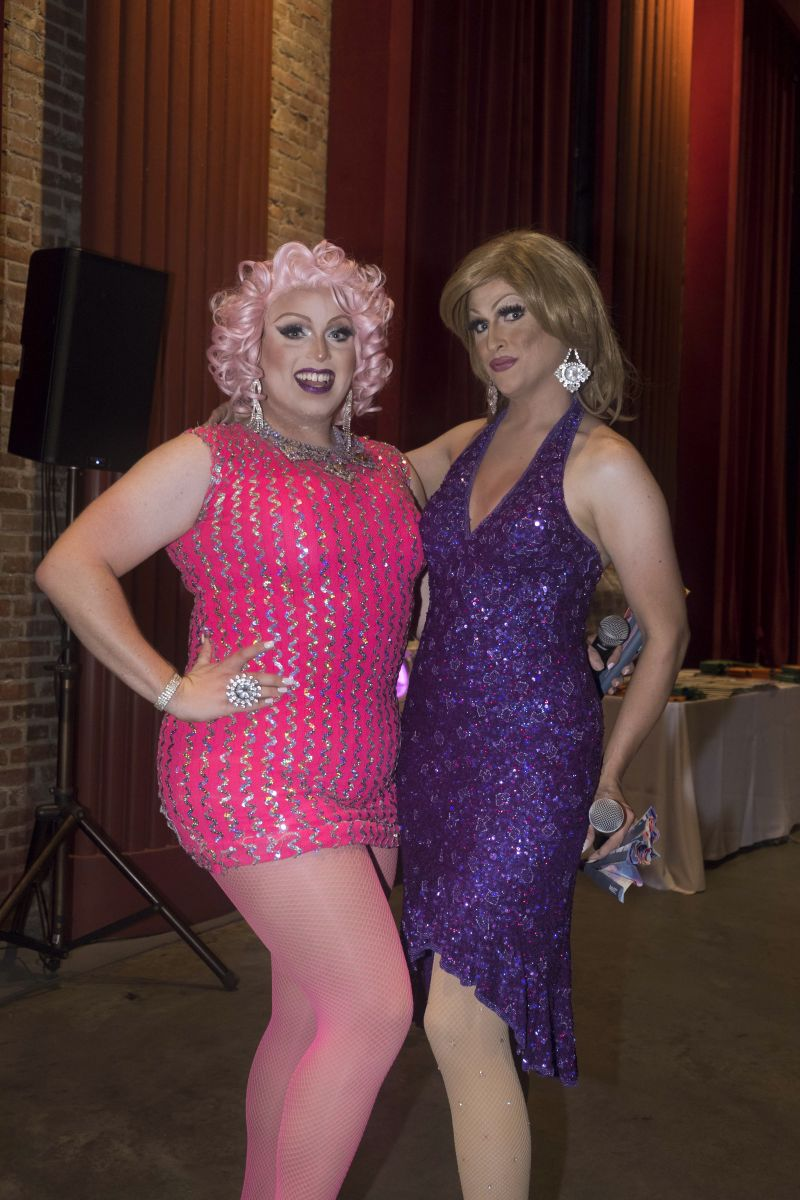"""Kylee Lovlee and Shariese Ses Pieces served as the night's """"Bingo Verifying Divas"""""""