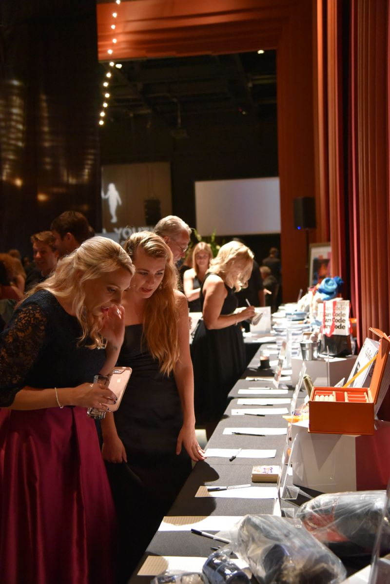 Guests survey the silent auction items.