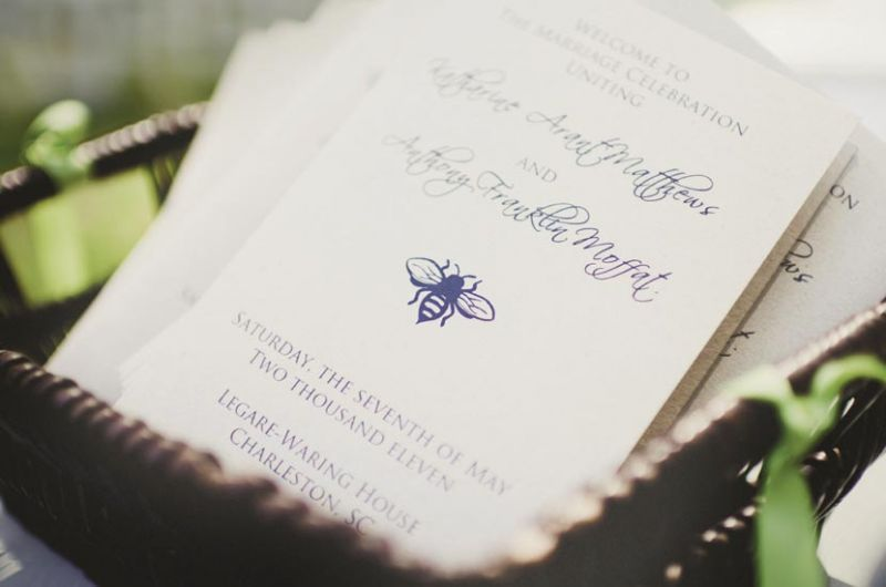 CRAFTY THINKING: Katharine printed programs herself, using natural paper and the wedding's ever-present bee motif.