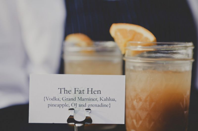 DRINKS ON ME: Fat Hen served honey-colored cocktails in Mason jars, spruced up with wedges of orange.