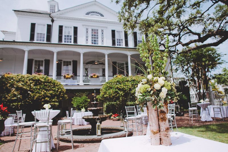 BACKYARD BEAUTY: Cocktail hour was held on the back lawn of the Governor Thomas Bennett House.