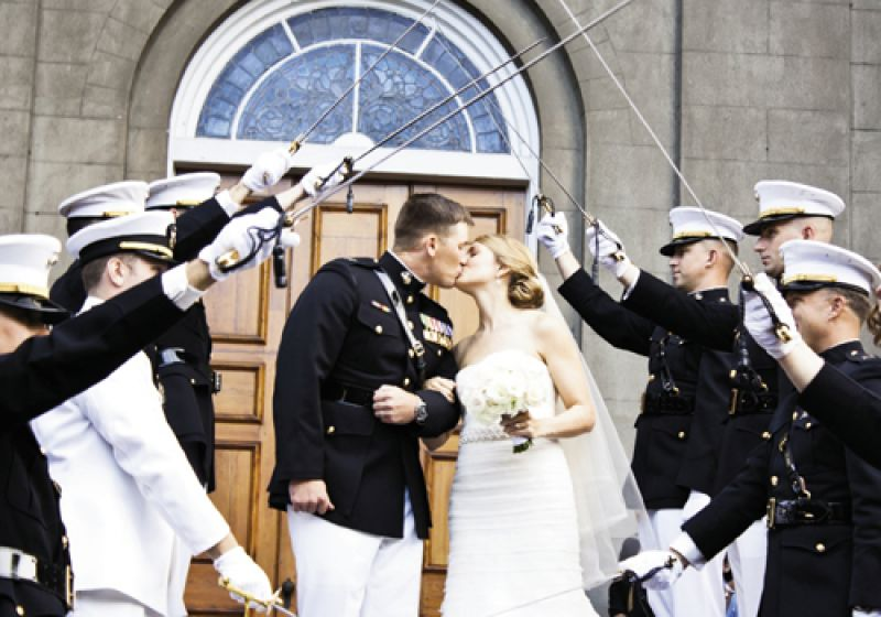 FORWARD, MARCH: Aly and Jake exited First Scots in proper Marine tradition.