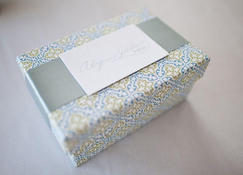 BELLA BOX: Treat-filled welcome boxes in the weddings colors and tied with a double-faced satin ribbon greeted guests.
