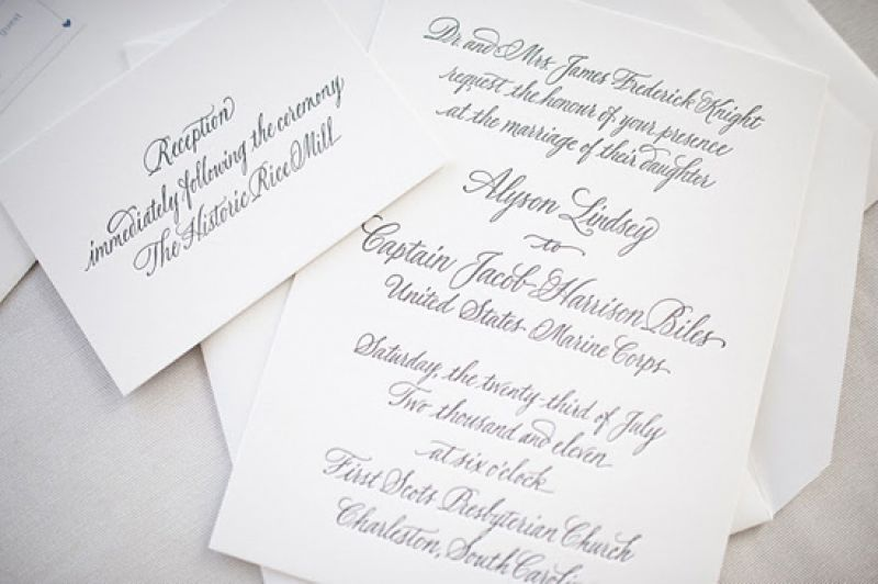 CRISP AND CLASSIC: The Oscar & Emma stationery suite added to the traditional feel of the spring ceremony.