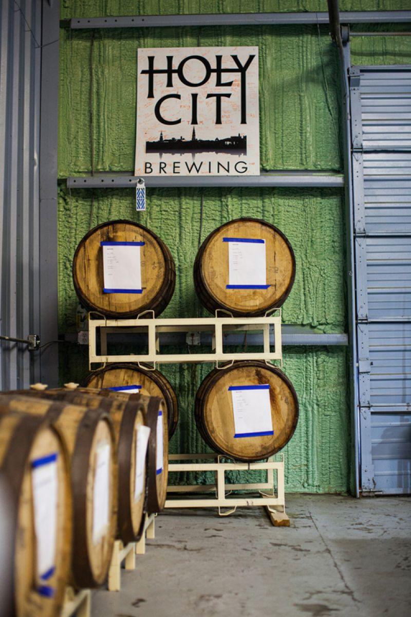 Bourbon barrels aging beer.