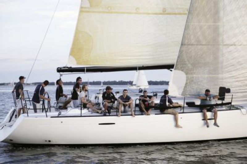 Nice Ride: The Dauntless crew looks sharp as they wait on fair winds during a Summer Series race. A 47-foot Beneteau captained by Don Terwilliger, Dauntless is a fierce competitor in CORA's A Fleet.