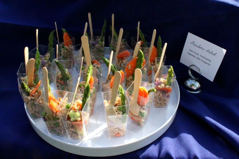 "A plant-based ""rainbow salad"" from Thurston Catering was among the delicious hors d'oeuvres."