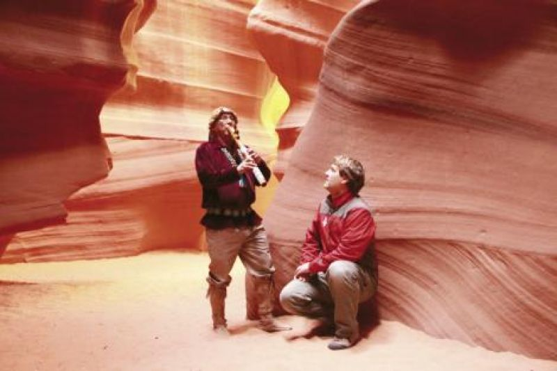 To get the needed shots for another episode in Antelope Canyon near Page, Arizona, the crew hiked the south rim—in, down, around, and back up—for three days.