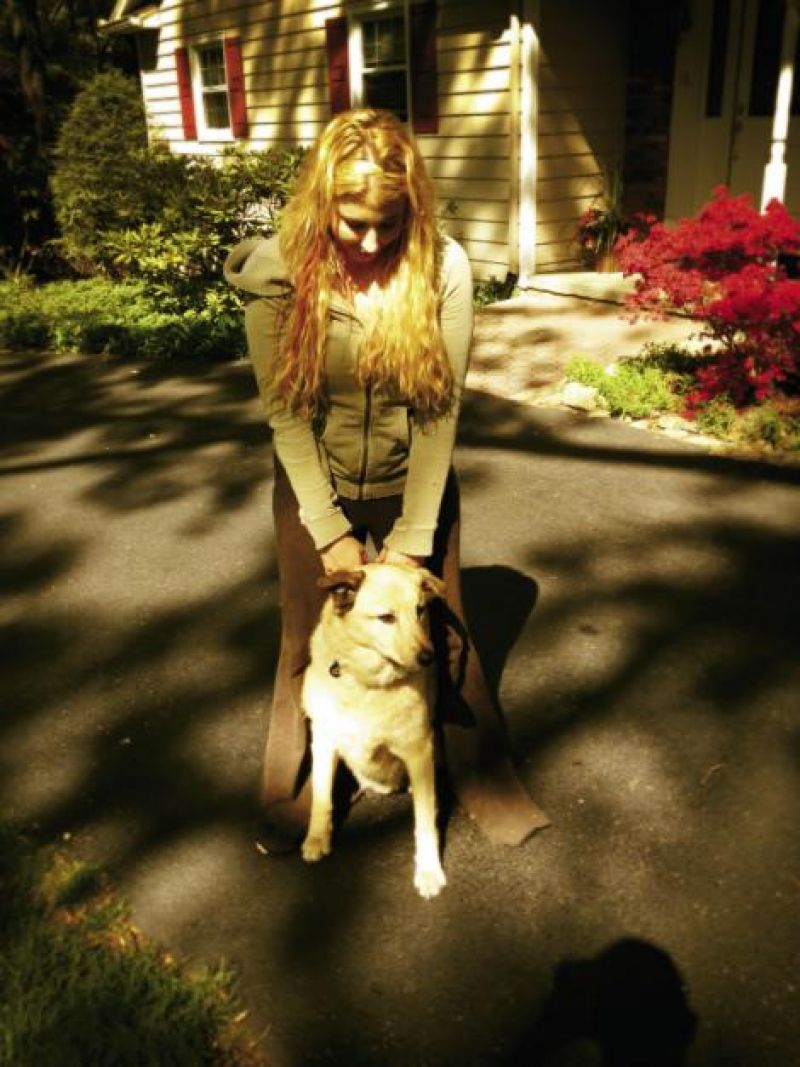 Family Ties: With her dog, Leon.