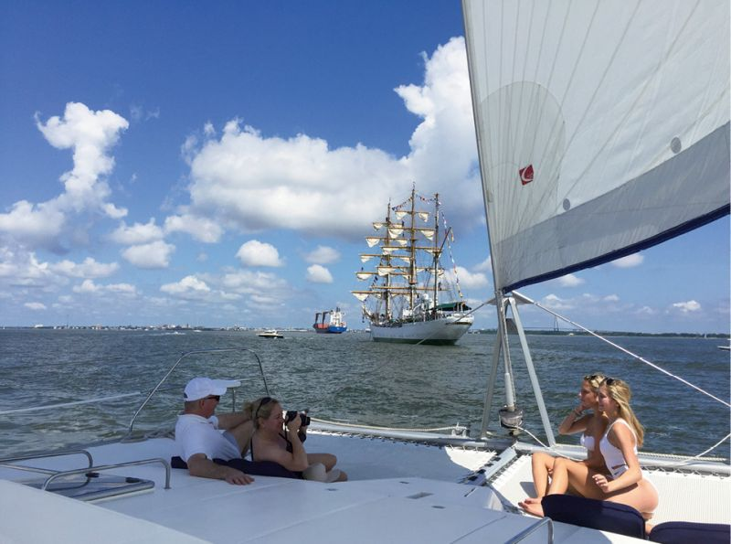 Cruise Charleston Harbor aboard a private charter with Om Sailing.