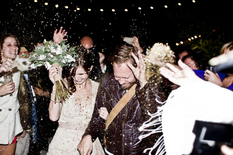 SAYONARA: Friends and family saw the newlyweds off by tossing dried chamomile and lavender, provided for them in miniature burlap sacks.
