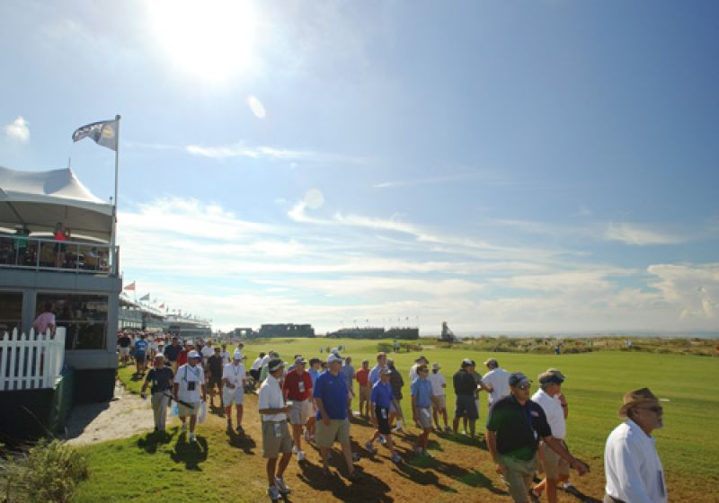 The crowds flowing past the 18th fairway.