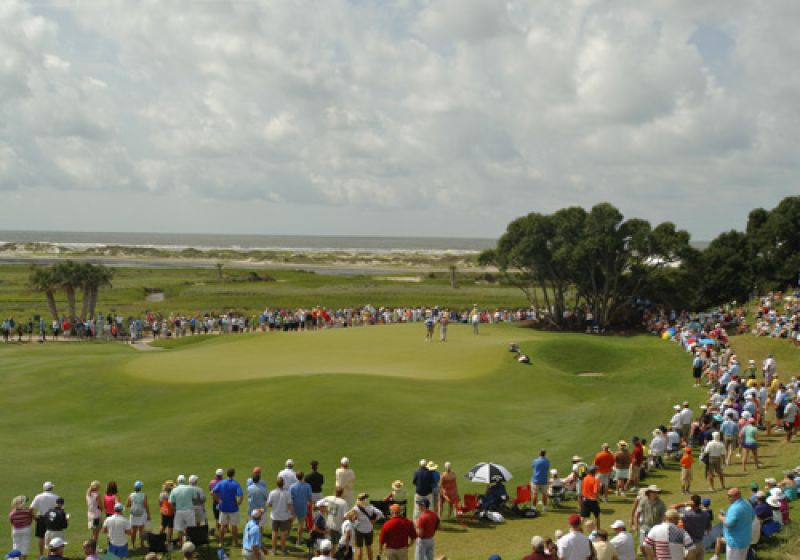 The view of the 9th green and the ocean beyond from the 1st tee grandstands.