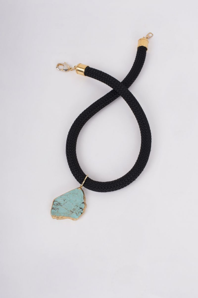 "Peyton William ""Tobi"" silk cord with turquoise pendant necklace, $150 at Peyton William"
