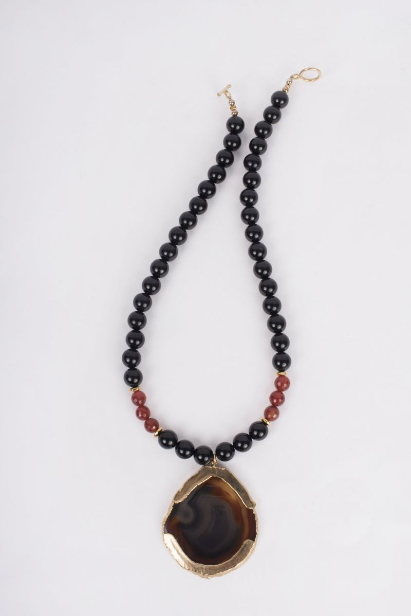 Peyton William Onyx, Agate, and Carnelian pendant necklace, $245 at Peyton William