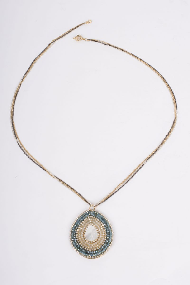 Theia large teardrop pendant necklace, $95 at Lori + Lulu