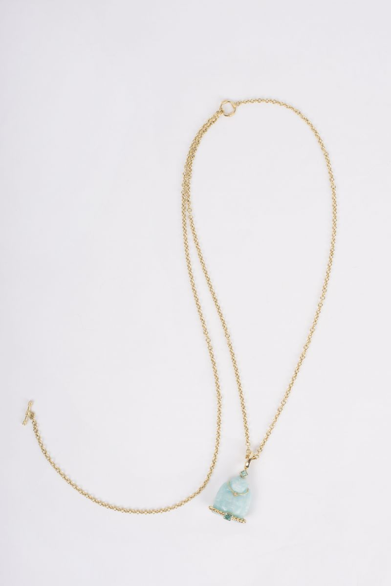 14K yellow gold toggle chain necklace with 14K yellow gold carved Amazonite and Emerald Buddha pendant, $3,080 at Croghan's Jewel Box