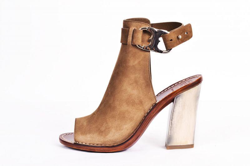 "Tory Burch ""Gemini"" peep-toe suede sandal in ""river rock,"" $350 at Gwynn's of Mount Pleasant"