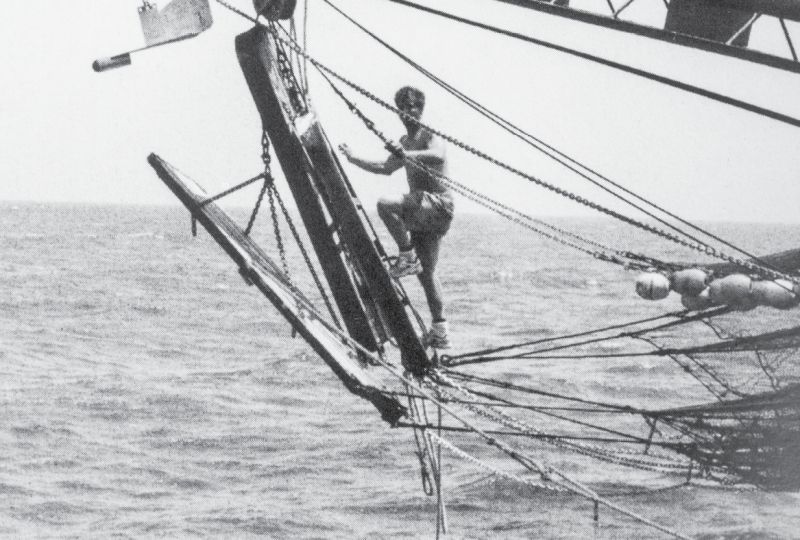 Working the lines off an outrigger to bring up the nets