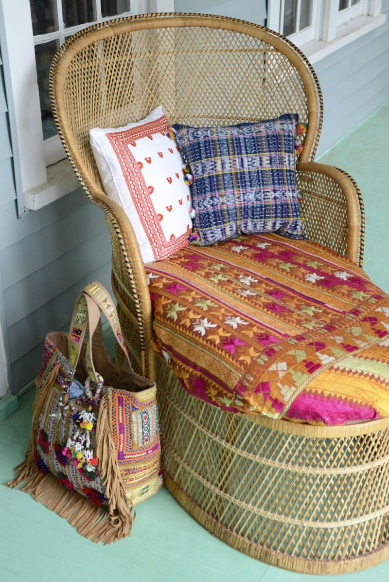 Adorable beach setup with chair from Charleston Revisions and bag from Calypso