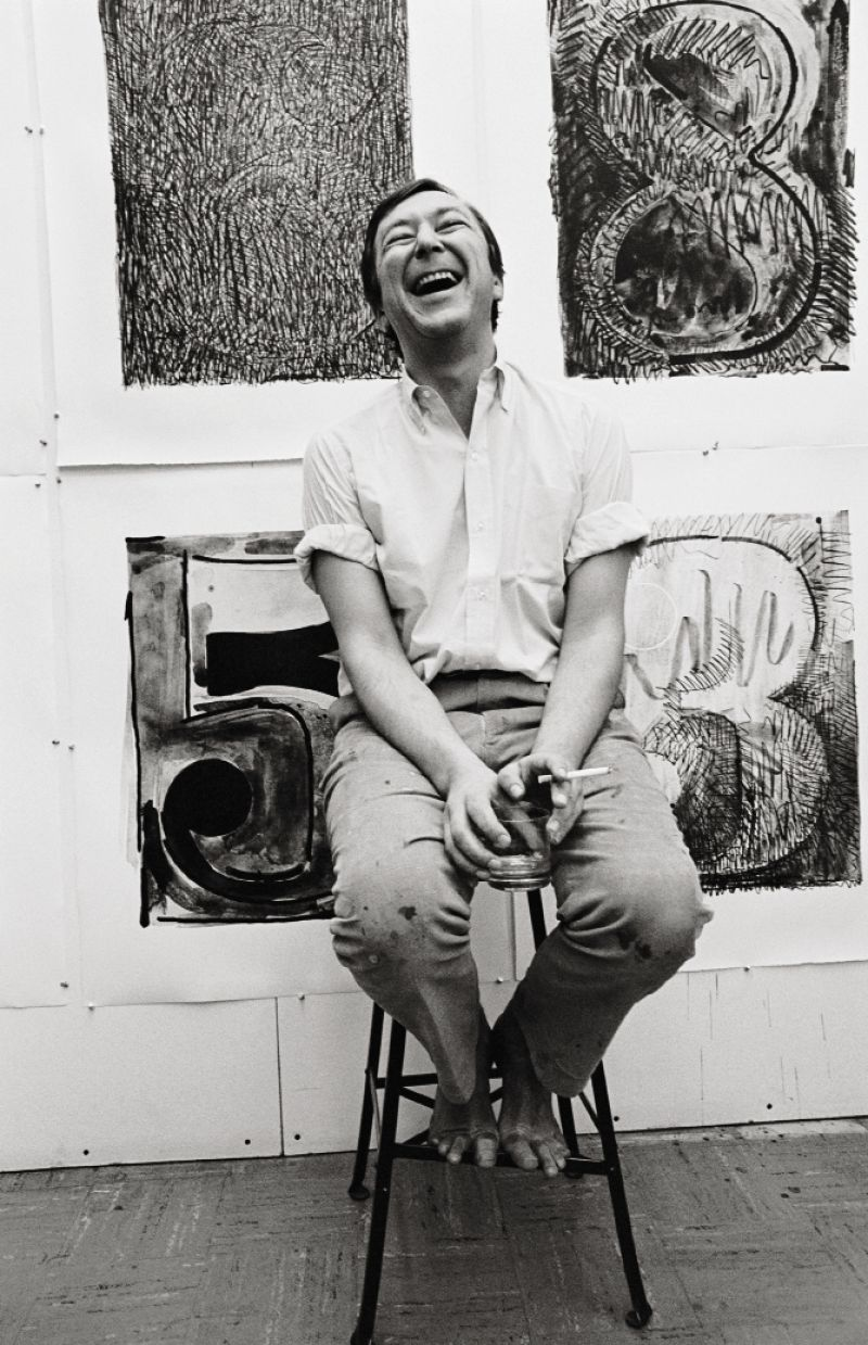 Jasper Johns at Los Angeles' Gemini Graphic Editions Limited Studios in 1968.
