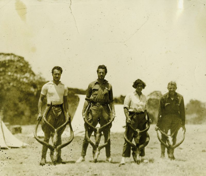 in Ethiopia circa-1928 with her future husband Sidney (to her right), his brother Morris (far right), and scientist Donald Carter (left)—the antlers may be those of mountain nyala