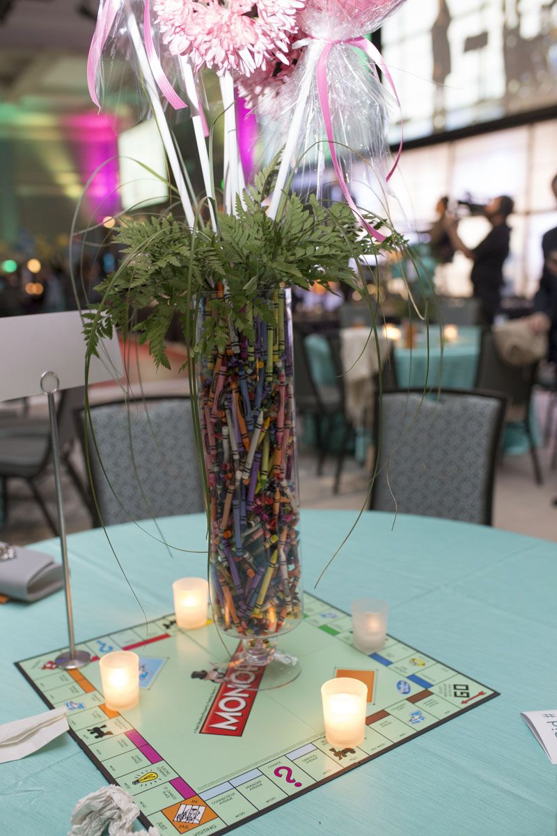 All table centerpieces were focused around the event's theme, A Kid At Heart.