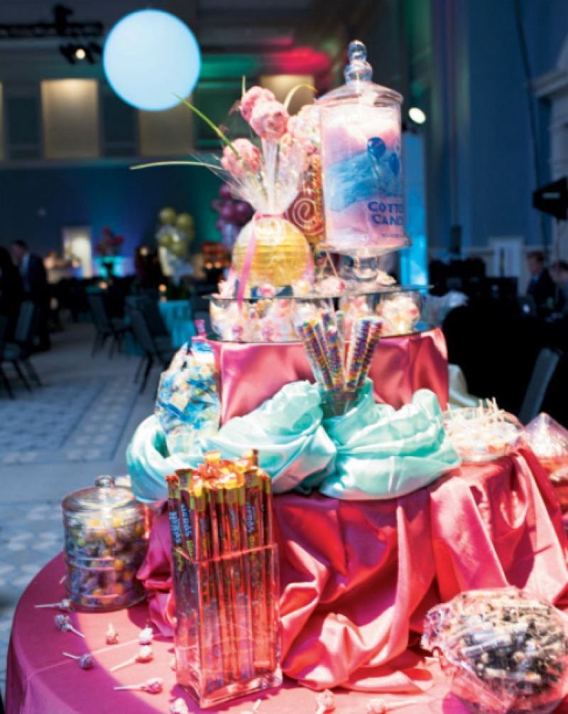 A festive table with jars of candy for the taking
