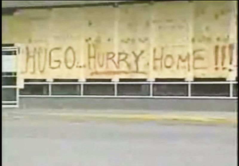 sometimes spray-painting messages to the hurricane.