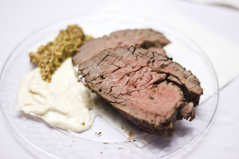Beef tenderloin served with a choice of wholegrain mustard or horseradish mustard, courtesy of Iron Gate Catering