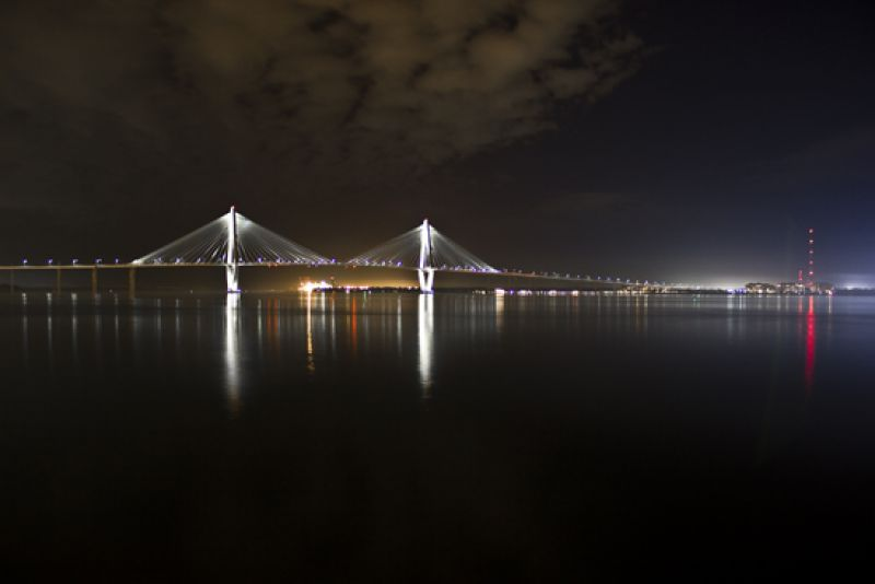 View of the Ravenel Bridge from the patio of the South Carolina Aquarium