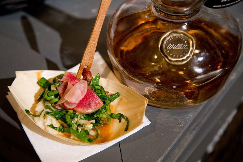 Caroline Adams & Julia Heekman from Voodoo Lounge serve homemade pecan pie bourbon.