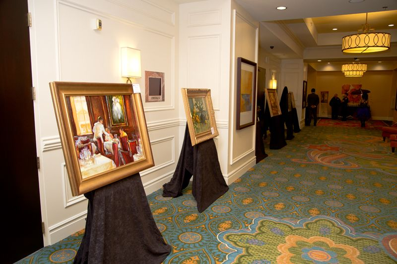 Paintings up for auction on display