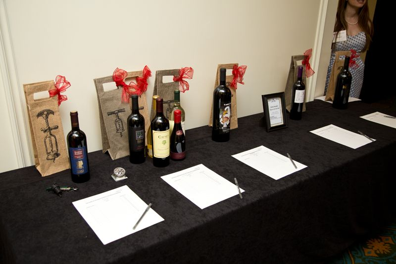 Wines on display for the silent auction