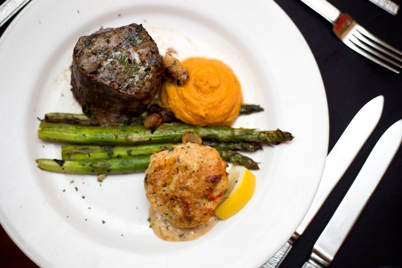 Herb rubbed petite filet & lump crab cake with grilled organic asparagus and sweet potato puree