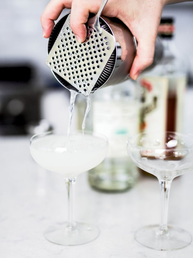 For easy margaritas, shake tequila, Cointreau, lime juice, and simple syrup with ice and strain.
