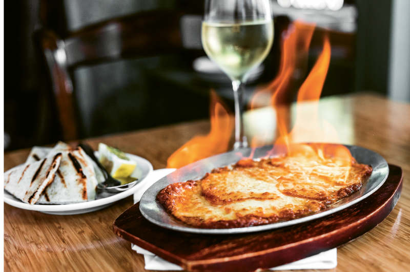 Saganaki, a flaming cheese starter made with sheep's milk