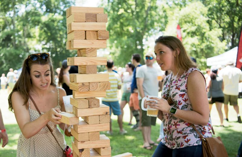 Giant Jenga is not for the faint of heart.