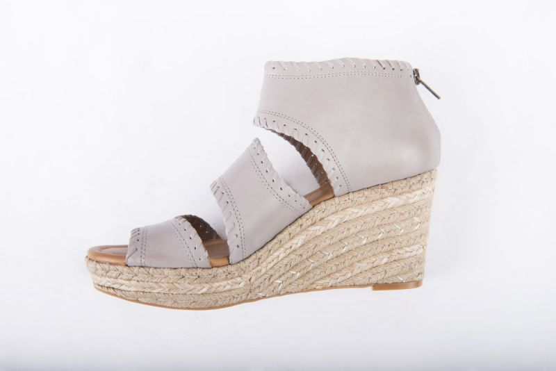 "CC Corso Como ""Joyce"" wedge espadrille in grey brushed leather, $169 at Copper Penny"