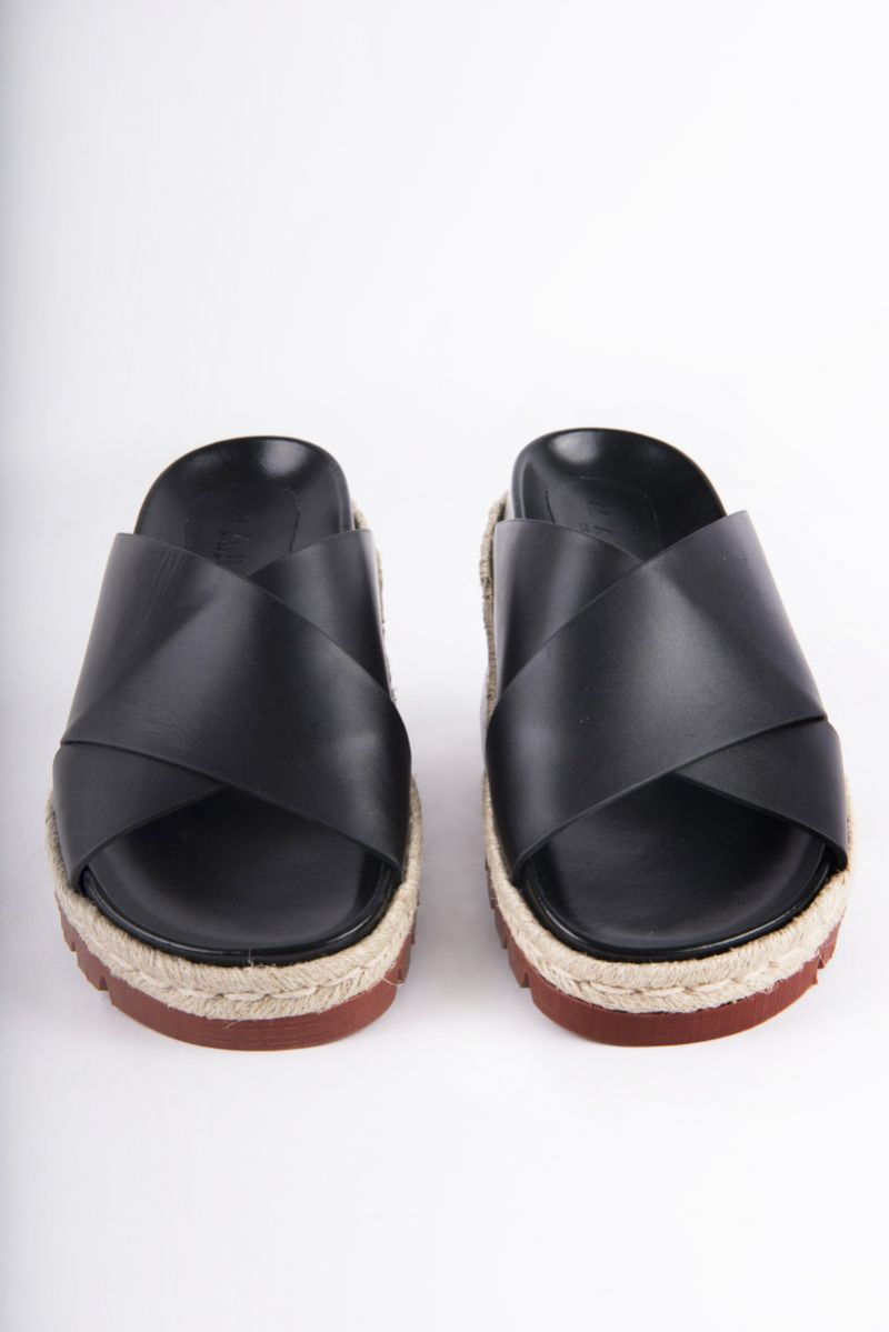 "Marni ""Fussbett"" crisscross sandals in black calfskin, $690 at Hampden Clothing"