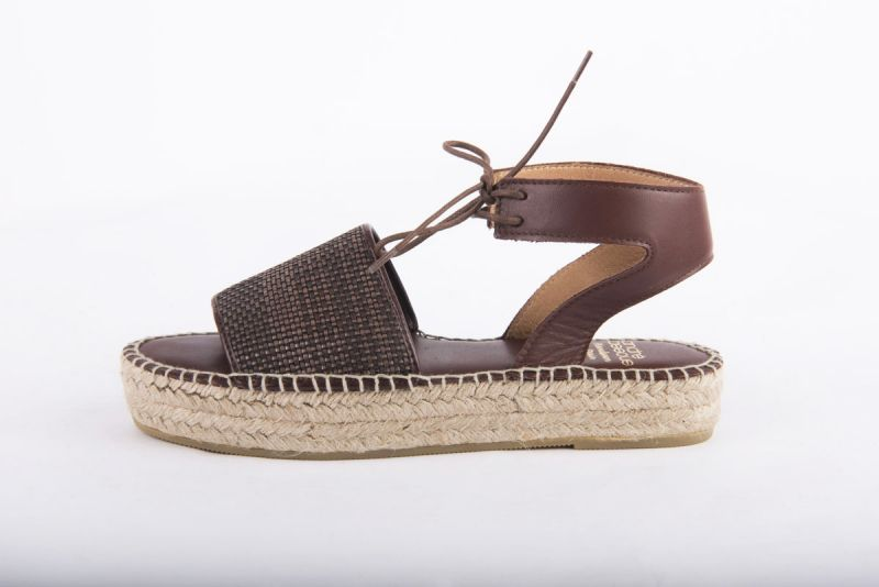 "Andre Assous ""Sage Woven Pu"" espadrille flat sandal in chocolate, $169 at Shoes on King"