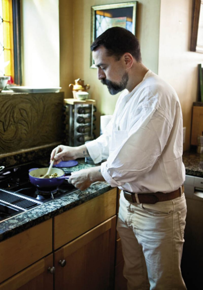 For his pasta dish, Massi cooks mushrooms in butter and olive oil, taking care not to fry them.