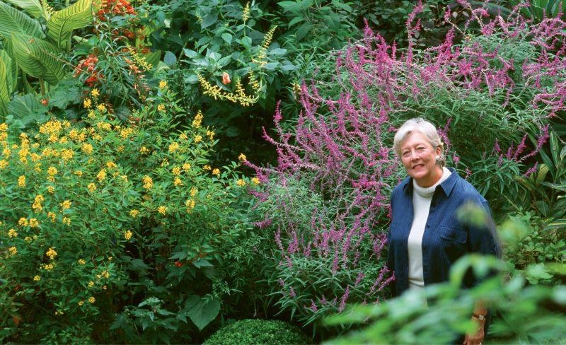 Patti McGee among the Mexican bush sage, butterfly weed, and Alpinia in her Ansonborough garden in 2003; photo by Virginia Weiler