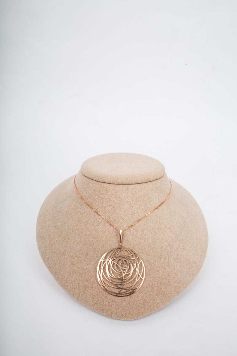 Roza Collection 14K Rose Gold Circle Swirl Pendant, $510 at Diamonds Direct