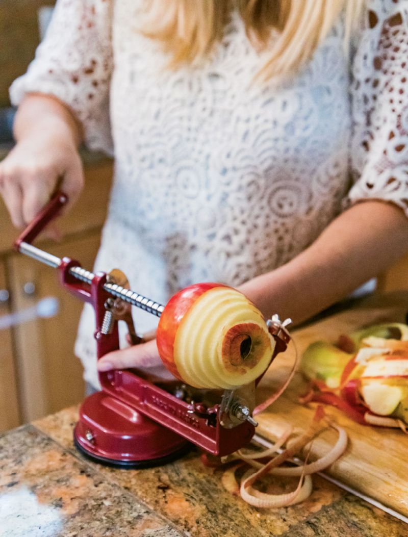 Using a spiralizer can be a secret time saver, as it produces thin apple strips in a snap—but if you don't have one, slicing the fruit works fine.