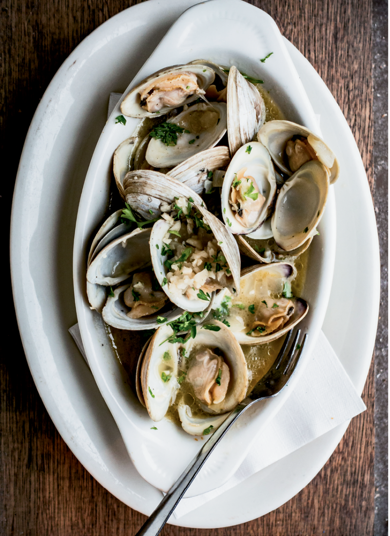 Beaufort butter clams at Panini's on the Waterfront