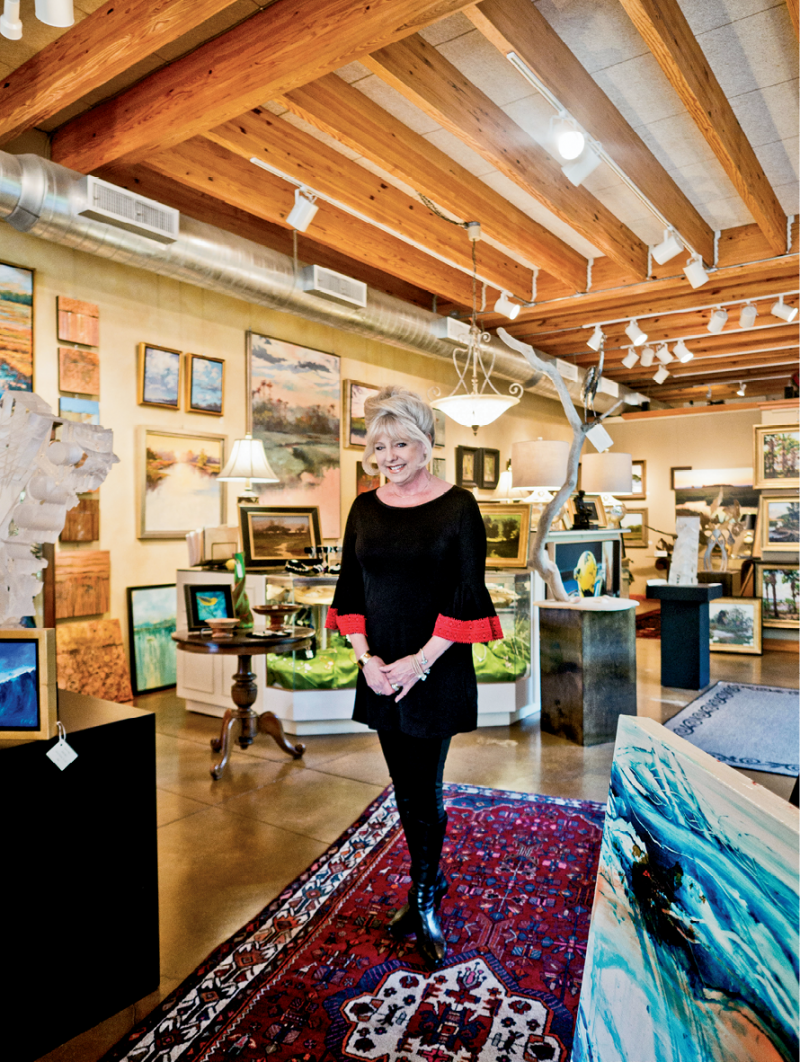 Irene Simons at her I. Pinckney Simons Gallery on Bay Street, where the sea islands' scenery inspires much of the art